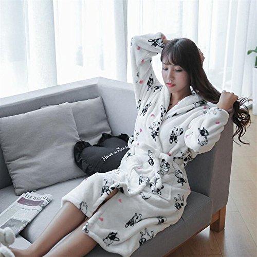 Huyizhi Badezimmer liefert Damen Long-Type Hunde Flanell Bademantel Warm Revers Bademantel Verdickt Pyjamas Bademantel -