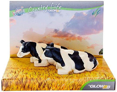 KidsGlobe Country Life 1000564 - Bauernhoftier - Kuh, 2 Stück, Liegend, Schwarz/weiß Preisvergleich