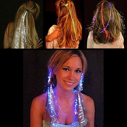 FOURPLUSONE LED-Blitz beleuchten Farben-Haar-Barrette-Nachtlicht-Klipp-blinkende Haar-Verlängerungs-gelegentliche Farbe des Frauen-Mädchens für Partei (Mädchen Und Blitz Kostüm)