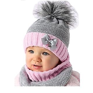 AJS Baby Winter Mütze Mädchen Babymütze Lopp Größe 44/46 Grau/Rosa 6 bis 18 Monate alt mit Glitzer-Faden (44/46, Grau/Rosa)