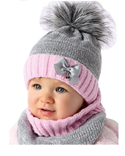 31c5214adc AJS Baby Winter Mütze Mädchen Babymütze Lopp Größe 44/46 Grau/Rosa 6 bis