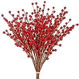 Whline 12 Stück Künstlicher Beerenzweig Rot Beerenzweig, Kunst Zweig Beeren für Weihnachten, Hochzeit, Handwerk und Heimornamente ( 30,5 cm )
