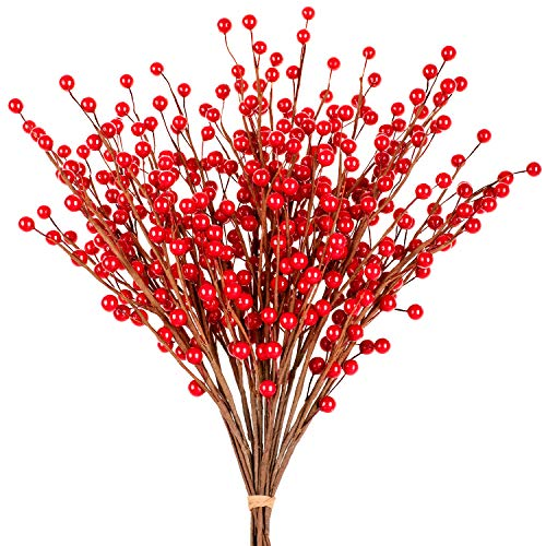 Whaline Red Berry Twig Stem, 12 Pack Artificial Burgundy Berry Picks for Christmas Tree Decorations, Valentines, Crafts, Wedding, Holiday Home Decor