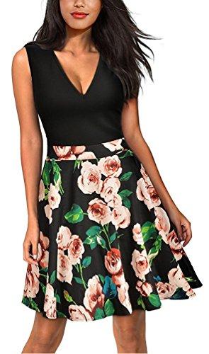 Brinny Damen Kleid Elegant Party-Cocktailkleid Festliches Sommerkleider ?rmellos Knielang A-Linie V-Ausschnitt Blumen Druck Schwarz