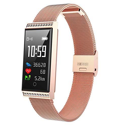 r Smartwatch, Pulsuhr mit Farbdisplay, IP68 wasserdicht, Schrittzähler, Kalorienzähler, Schlafmonitor, Schrittzähler (Rose Gold) ()