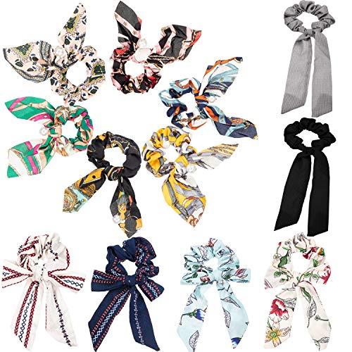 12 Stücke Haargummis Bowknot Perlen Haargummis Fliege Pferdeschwanz Haargummis Haarschal für Frauen Mädchen gefallen -