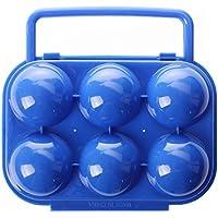 TOOGOO(R) Portatiles de plastico plegable portador de huevos portador contenedor de almacenamiento para 6 huevos - azul