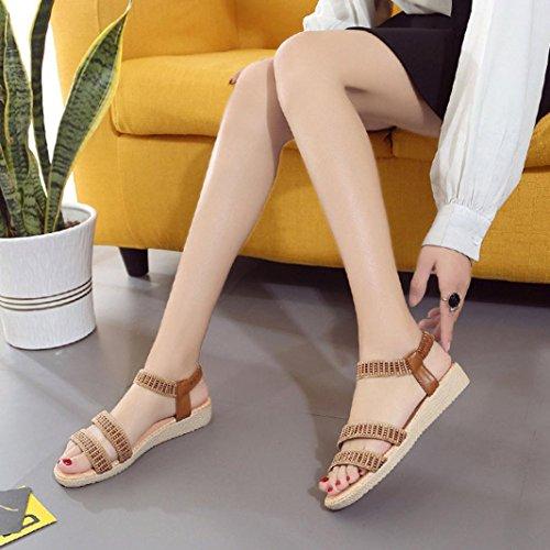 Webla Frauen flache Schuhe Elastizität Bohemia Freizeit Dame Sandalen Peep-Toe Outdoor Schuhe Damen Dianetten Sandalen Zehentrenner Sommer Schuhe Braun