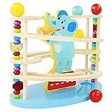 Nuheby Kugelbahn Baby 1 2 3 Jahr Holz Murmelbahn Rollbahn aus Holz mit 3 Holzkugel Elefant Spielzeug Motorikspielzeug für Mädchen Junge Kinder
