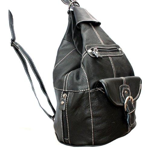 Echtes Leder-Sling-Rucksack Geldbeutel-Organisator von Silver Fever ® Schwarz