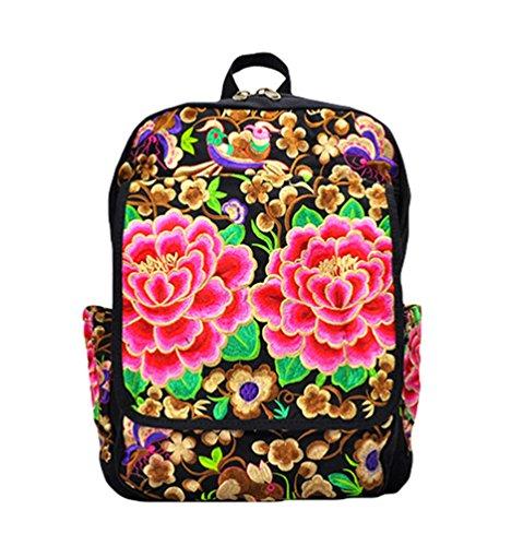 YAANCUN Rucksack Schulrucksack Vintage Mädchen Teenager Bestickt Kinderrucksack Daypacks Tasche Canvas Tasche Wie das Bild#2