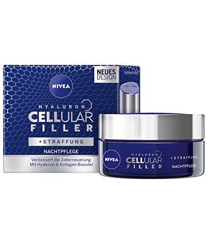 NIVEA Hyaluron CELLular Filler Anti-Age Nachtpflege Creme (1 x 50 ml), Anti Falten Gesichtscreme...