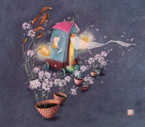 Correspondance Einzelkarte Gaëlle Boissonnard - Hütte und Blumen - 14 × 16 cm Verkauft mit Umschlag.
