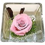 Composizione con rosa stabilizzata profumata rosa 10x10