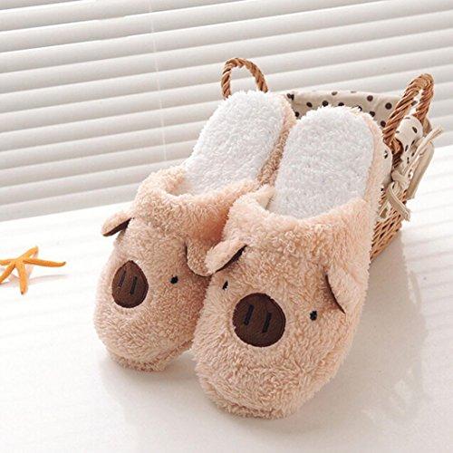 Hiver chaud Maison Chaussons, Yogogo Hommes Femmes Belle Pig Chaussures Indoor Café