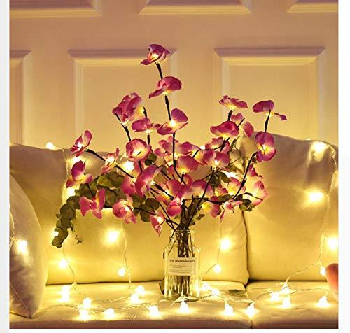 ruofeng Lighting shop Orchideen Bouquet Licht Batterie Leistung 20 Led Licht Blume Warmweißes Licht Led Branch Home Decoration Party Led Blumenlicht -