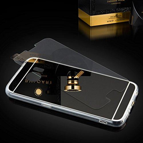 EGO® Luxus TPU Silikon Spiegel Schutz Hülle Back Case mit Panzerglas für LG G4 Schwarz Handy Cover mit Glanz Mirror spiegelnd, dünn und elastisch Schwarz + Glas