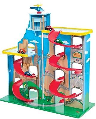 riesiges Parkhaus Garage Autogarage aus Holz mit Rollbahn Coaster 70 cm von Mentari Toys