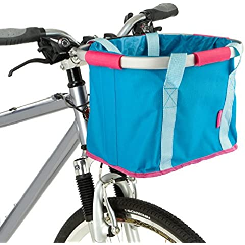Schwinn plegable bolsa para manillar de bicicleta, color azul y rosa