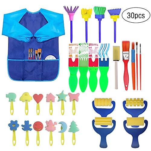 ZJW Schwamm Malpinsel für Kinder, 30 Stück Pinsel Zeichenkit für Kinder Malen mit Plastikpalette und Schürze Kleinkinder Frühes Lernen Kunsthandwerk DIY Zubehör Werkzeuge