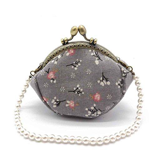 QHGstore Zero Wallet Frauen Mini Flower Print Hasp Portable Key Kreditkarte Headset Halter Strap Bag Münze Geldbörse blume grau (Geldbörse Kiss Lock)