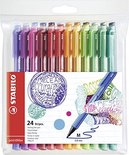 STABILO Filzschreiber - pointMax - 24er Pack - mit 24 verschiedenen Farben