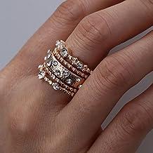 Lomelomme Joyería Anillo Mujer Nueva moda de oro rosa anillo apilable 9 anillos de oro brillante