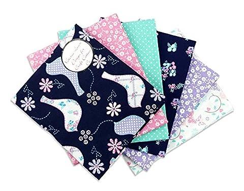 The Craft Cotton 18 x 22 cm 6 pièces Motif Pastel Dove Lot de 6 coupons de tissu format Fat Quarter