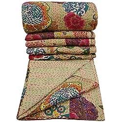 Pushpacrafts Couvre-lit, couverture Kantha beige et multicolore 100% coton, motifs floraux, dessus-de-lit King Size, de style bohème, dimensions 228,6 x 274,3cm