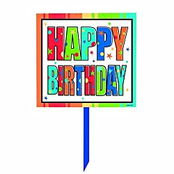 Amscan Year to Celebrate Happy Birthday Yard Sign, Multicolored, 14 x 15