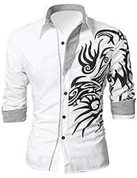 SODIAL (R) Herren Europaenischer Herrschsuechtiger Drache Entwurf Hemd Schlankes Shirt Weiss Groesse M