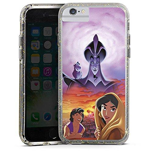 Apple iPhone 6 Bumper Hülle Bumper Case Glitzer Hülle Disney Aladdin & Jasmine Merchandise Geschenke Bumper Case Glitzer gold