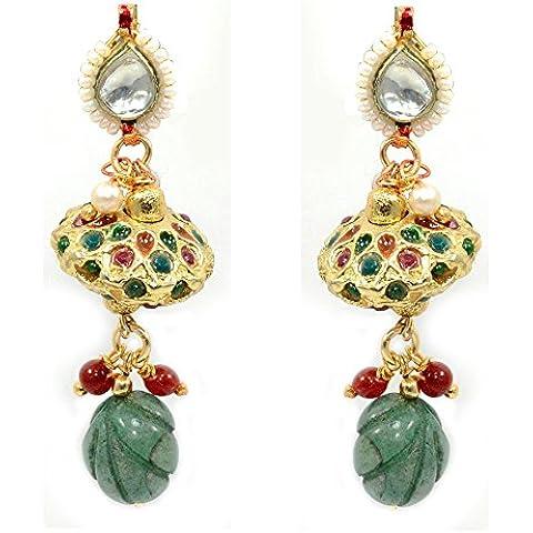 silvesto India placcato oro avventurina verde kundan Meena pendente Orecchini per le donne PG 9473