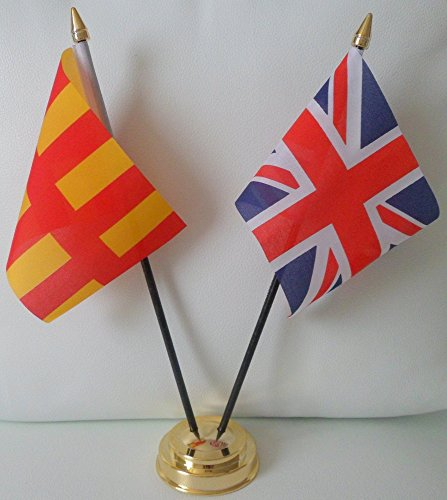 Northumberland County Flagge Union Jack, Freundschaft Tabelle 2-Kopf mit goldfarbenem Sockel -