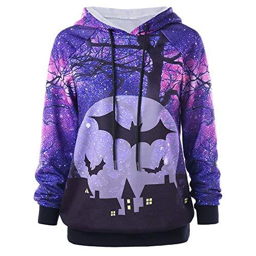 Damen Halloween Kostüm,Geili Frauen Halloween Langarm Fledermaus Gedruckt Sweatshirt Hoodie Kapuzenpullover Locker Bluse Oberteile Tops ()