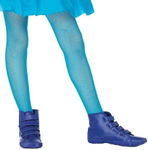 Leg Avenue Kinder Mädchen Netz Strumpfhose neon blau Größe L ca. 146 bis 158 (Neon Fischnetz Leggings)