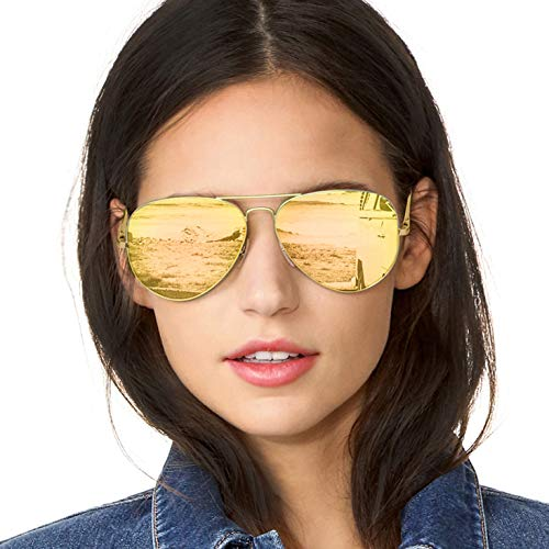 SODQW Pilotenbrille Sonnenbrille Damen Verspiegelt Polarisiert Mode Flieger Brille für Autofahren Angeln Metallrahmen 100% UVA/UVB Schutz (Gold Rahmen Gold Linse)