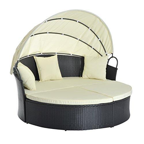 Outsunny Lit canapé de Jardin modulable Grand Confort Pare-Soleil Pliable intégré 4 Coussins 3 oreillers 171L x 180l x 155H cm Métal Résine Tressée Polyester Noir Beige 03