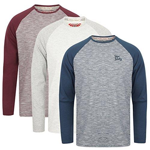 Tokyo Laundry Men's Lightweight Contrast Marl Raglan Long Sleeve Top New SS18