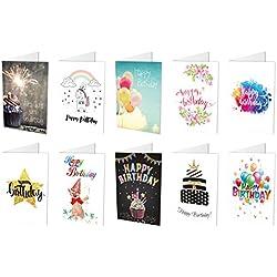 10 Geburtstagskarten (10 unterschiedliche Motive Klappkarten) + 10 hochwertige, haftklebende Umschläge, Happy Birthday, Alles Gute zum Geburtstag … (10)