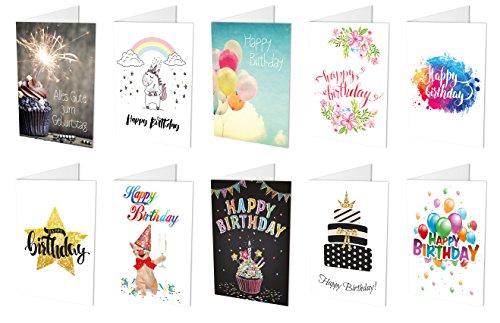 10 / 20 Geburtstagskarten (10 unterschiedliche Motive, Klappkarten) + 10 / 20 hochwertige, haftklebende Umschläge, Happy Birthday, Alles Gute zum Geburtstag
