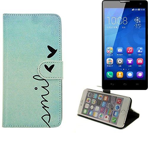 360° Wallet Case Schutz Hülle für Huawei Honor 3C, ''smile'' | Smarpthone Flip cover Flipstyle Tasche - K-S-Trade (TM)