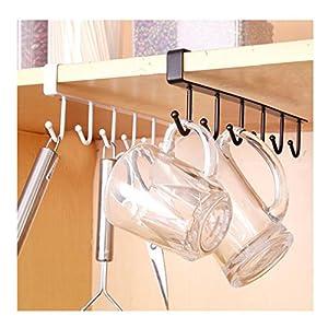 Albeey 1 Stück Unter Regal Tassenhalter Schrankeinsatz Küchenhelfer Tasse Halterung (schwarz)
