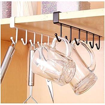 Lalang 1pc Tea Cup Mug Holder Under Shelf Cup Hanger Drying Rack 6 Hooks  Towel Holder