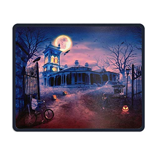 meniony Holiday Halloween Haunted House Scary Jack-o-Lantern Little Girl Moon Bat Raven Gaming Mouse Pad/Mat with Smooth Silk Surface Stitched Edges (Scary Jack O Lantern)