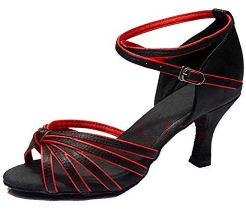 Minetom Femme Pour Dame Talon Bas Chaussures de Danse Paillettes Bout Rond Latin Lanière de Cheville Boucle Noir-Rouge