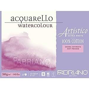 WATERCOLOUR BLOCK FABRIANO EXTRA WHITE 9x12 140lb HP