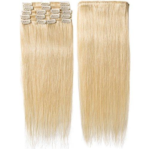 Clip In Extensions Echthaar Hellblond 100% Remy Echthaar Haarverlängerung 8 Tressen (45cm-70g)
