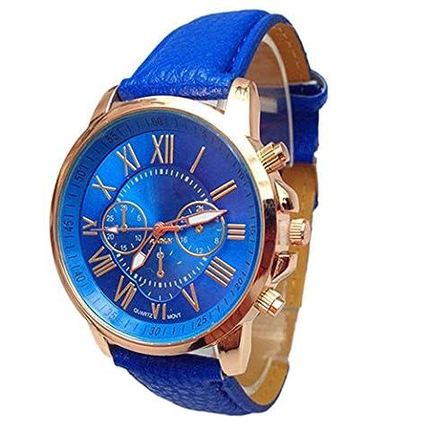 FEITONG Damenuhr Stilvolle Ziffern Kunstleder Analoge Quarz Armbanduhr Blau