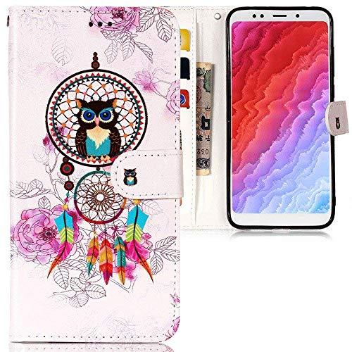 CLM-Tech Funda para Xiaomi Redmi 5 Plus, Carcasa Cuero sintético, Flip Case con Soporte y Ranuras para Tarjetas, Búho colector Ideal Rosa Colorido